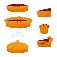 um conjunto de tortas com geléia e bolo de cenoura ou abóbora vetor