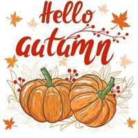 outono cartão com letras de mão olá outono vetor