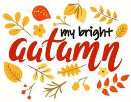 minha ilustração vetorial de letras brilhantes de outono vetor