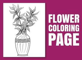 página para colorir de flores. página de livro para colorir para adultos e crianças. vetor