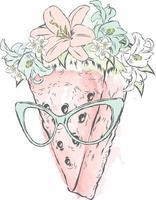 melancia em copos. ilustração vetorial. vetor