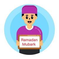 ramadan mubarak e saudações vetor