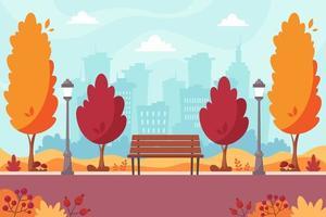 outono parque da cidade com banco. paisagem de outono. vetor