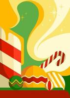 cartaz com velas e decorações de Natal. vetor
