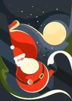 cartaz com o Papai Noel no fundo da lua. vetor