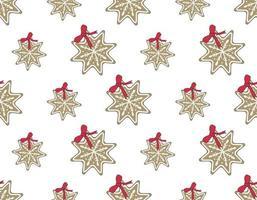 padrão de biscoitos de gengibre de feliz natal em forma de flocos de neve vetor