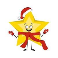 feliz ano novo personagem estrela com um chapéu de papai noel vermelho vetor