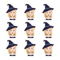 expressões de mulher com cabelos loiros e olhos azuis usando chapéu de bruxa vetor