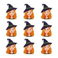 conjunto de expressões faciais de uma mulher ruiva com um chapéu de bruxa. vetor