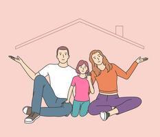 metáfora de seguro residencial, memórias de infância felizes. vetor