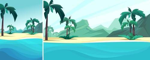 paisagem vertical e horizontal com costa do oceano, palmeiras e montanha vetor