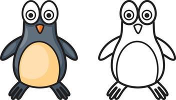 Pinguim colorido e preto e branco para livro de colorir vetor