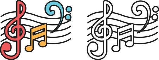 notas musicais coloridas e em preto e branco para livro de colorir vetor