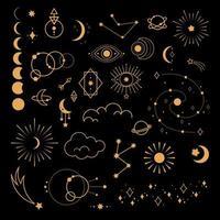 grande conjunto de símbolos mágicos e astrológicos. sinais místicos vetor