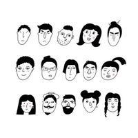 doodle retratos de garotas e garotos. coleção de ícones desenhados à mão na moda vetor