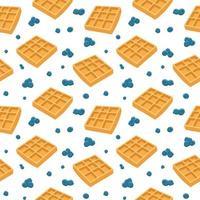 waffles e mirtilos padrão sem emenda vetor