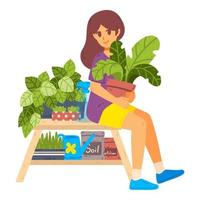 menina cuidar de plantas de casa. cultivo de plantas em vasos. vetor