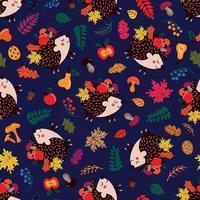padrão sem emenda com ouriços e folhas de outono vetor