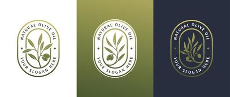 Projeto do logotipo do rótulo de azeite de oliva vetor