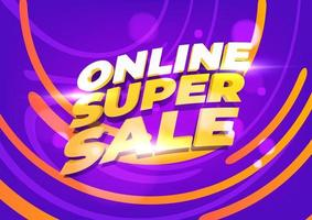 modelo de banner de super venda online. vetor