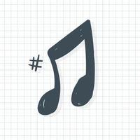 ícone de nota musical em estilo doodle vetor