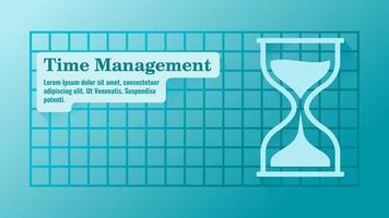 gerenciamento de tempo com modelo de apresentação de ampulheta vetor