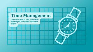 gerenciamento de tempo com modelo de apresentação de relógio vetor