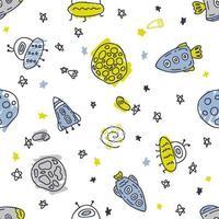 mão desenhando um padrão sem emenda de foguetes e planetas no espaço vetor