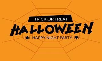 feliz festa de noite de halloween, texto preto em laranja vetor
