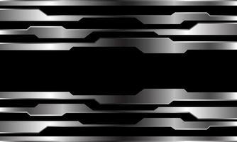 circuito cibernético de linha prata abstrata em preto vetor