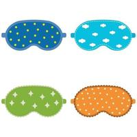 conjunto de máscara de dormir, ilustração vetorial de cor isolada vetor