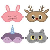 conjunto de máscara de dormir com rostos de animais fofos vetor