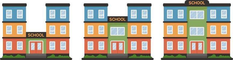 prédio escolar em estilo simples, isolado no fundo branco. vetor