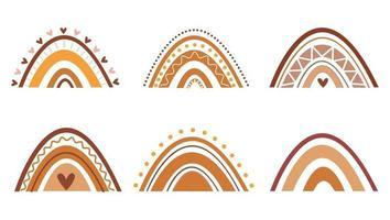 conjunto de arco-íris coloridos de estilo de arte boho. arco-íris desenhados à mão vetor