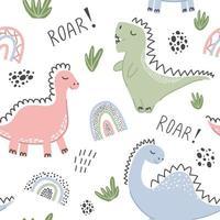 padrão sem emenda infantil com dinossauros. vetor