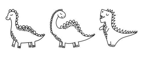 ilustração vetorial de dinossauros em estilo doodle vetor
