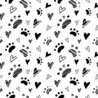 animal gato patas e padrão de coração sem costura vetor