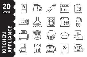 aparelhos de cozinha - conjunto de ícones lineares. símbolos de vetor. vetor