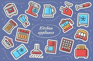 utensílios de cozinha - conjunto de adesivos. ilustração vetorial. vetor