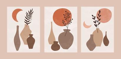conjunto de cartaz botânico abstrato. vetor