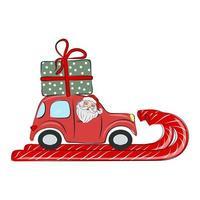 Papai Noel está dirigindo um carro vermelho com um presente. natal e ano novo vetor