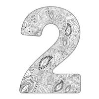 zentangle estilizado número 2 em estilo doodle. página para colorir anti-stress. vetor