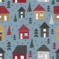 desenho animado sem costura padrão com casas e árvores vetor