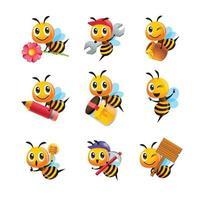 conjunto de coleta de abelha fofa de desenho animado em diferentes poses vetor