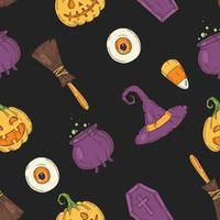 padrão com ícones de halloween. jack de abóbora, chapéu de bruxa, vassoura, doces vetor