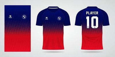 modelo de camisa vermelha azul para uniformes de time e camiseta de futebol vetor