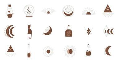 símbolos místicos. elementos de linha esotéricos, boho místicos desenhados à mão vetor