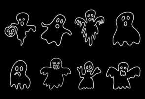 fantasmas assustadores em estilo doodle em um fundo preto. vetor