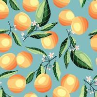 pêssegos e damascos em galhos de árvores, padrão sem emenda. vetor