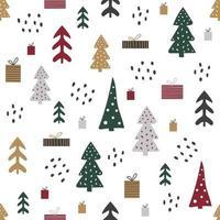 desenho animado sem costura padrão com casas e árvores, clima de natal. vetor
